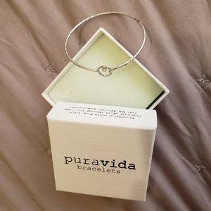 Pura Vida Silver Cuff Bracelet,circle white stone